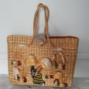 Handbags - Woven Embroidered Straw Tote Bag